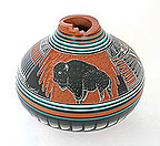 Example of Native American etched pottery