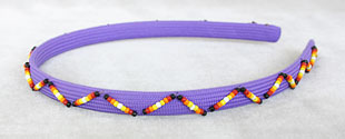 Lavender Hair Band Decorated With Flame Colored Beads