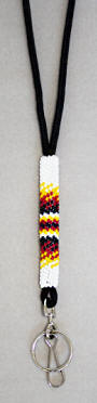 a3124 White/multi beaded lanyard