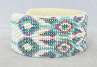 a3275 Yonavea white/turquoise/multi cut bead cuff, side view