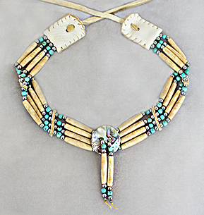 Trudeau bone hair pipe bead and turquoise 4-strand choker