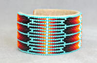 a3442 Turquoise/flame diamond pattern wide cuff bead bracelet, side view