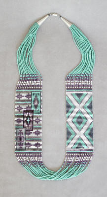a3537 15-strand 2-panel light turquoise/lavender/multi Two Gray Hills/Chinle pattern rug necklace