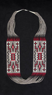 a3538 15-strand 2-panel gray/red/multi Navajo Storm Pattern pattern rug necklace
