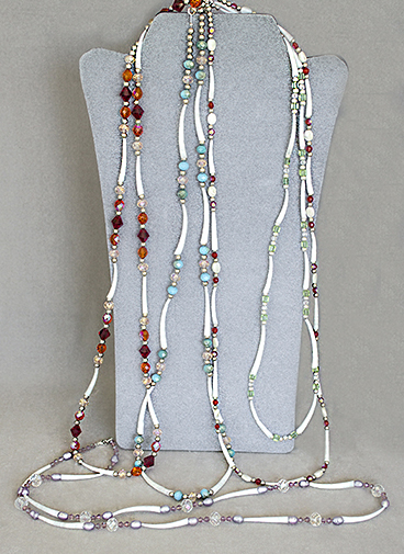 Comanche dentalium shell and bead 1-strand necklaces